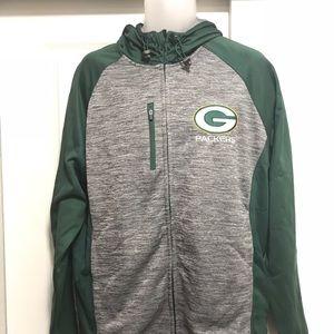 NFL Shirts - Men's Green Bay Packers F/Z Hooded Jacket Sz L